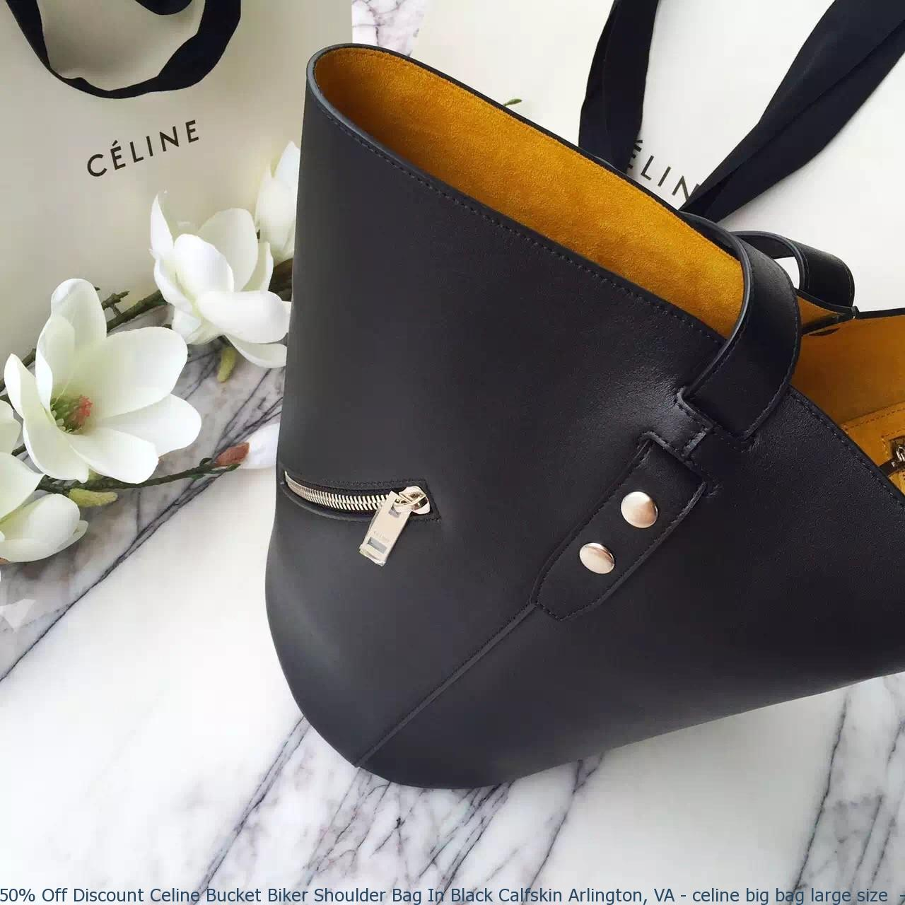cf43628f0f 50% Off Discount Celine Bucket Biker Shoulder Bag In Black Calfskin ...