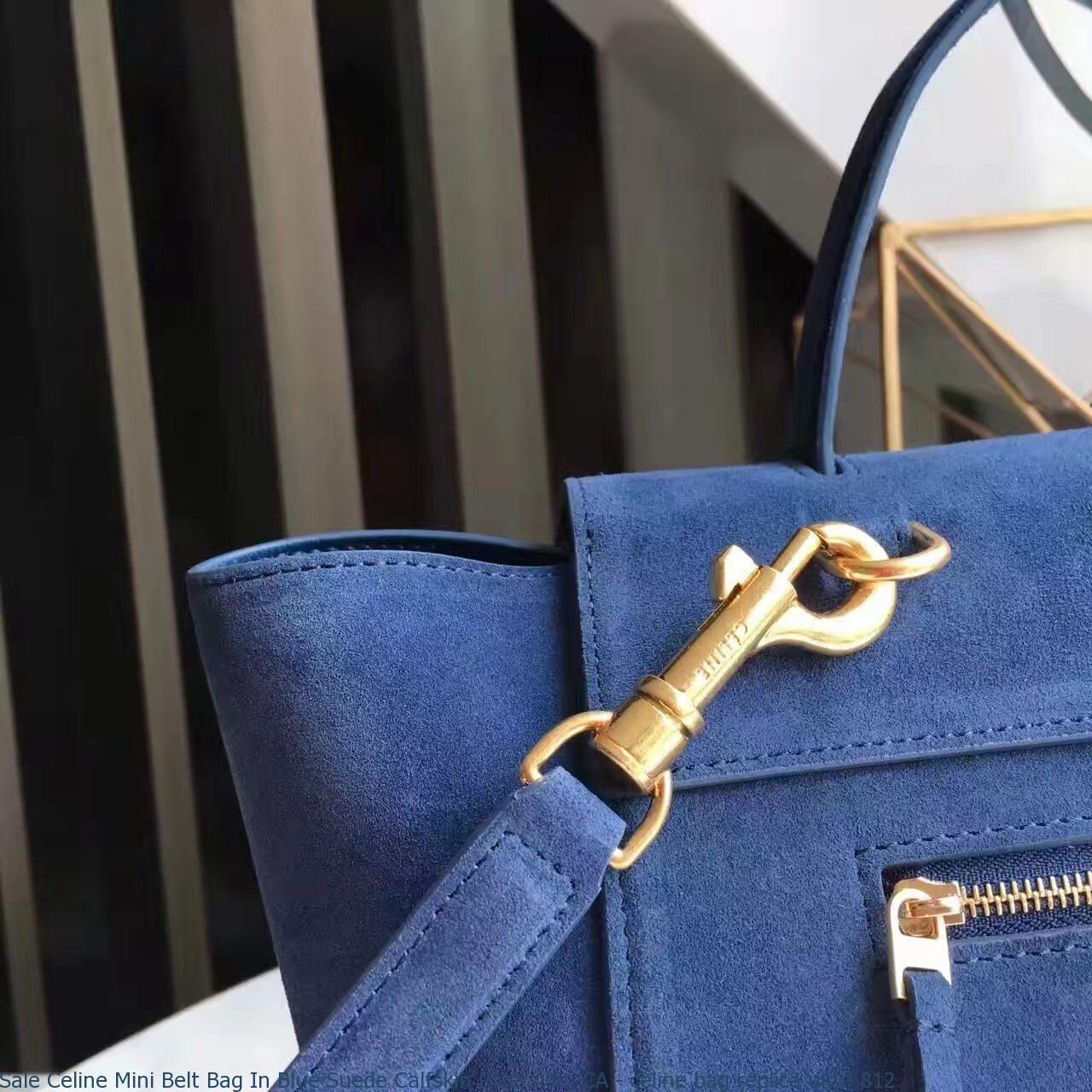 Sale Celine Mini Belt Bag In Blue Suede Calfskin Riverside 1dda82156083e